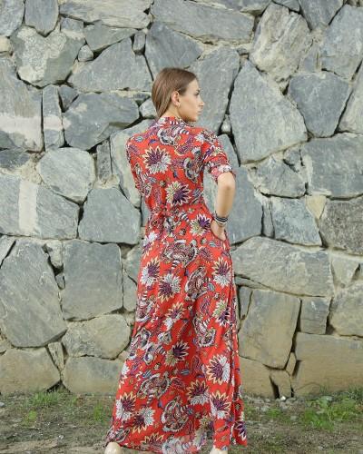 Kiremit Zambak Gömlek Elbise