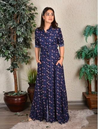Mavi Zemin Mor Çiçek Gömlek Elbise