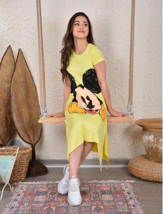 Sarı Mickey Asimetrik Elbise