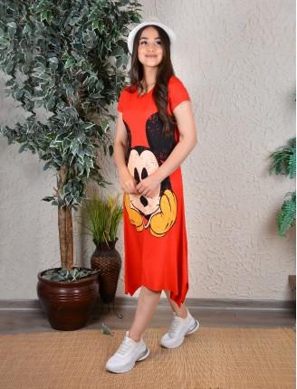 Kırmızı Mickey Asimetrik Elbise