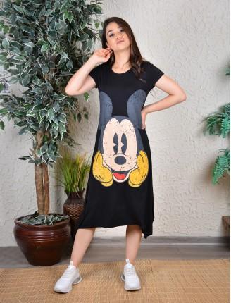 Siyah Mickey Asimetrik Elbise