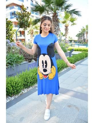 Mavi Mickey Asimetrik Elbise