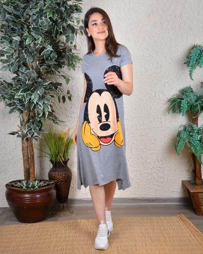 Gri Mickey Asimetrik Elbise