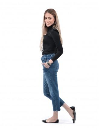 Mavi Kemer Tokalı Mom Pantalon