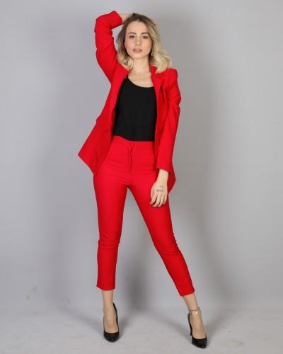 Kırmızı Astarlı Blazer Ceket Takım