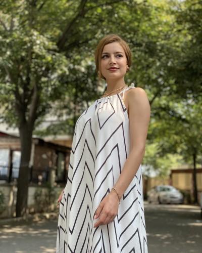 Çizgi Desen Askılı Elbise