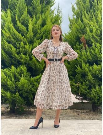 Yaka Patlı Desenli Şifon Elbise11