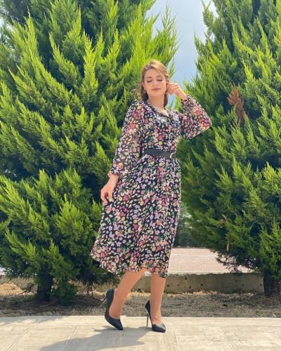Yaka Patlı Karma Çiçek Şifon Elbise
